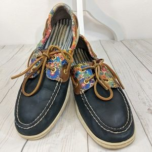 Navy Blue Floral Sperrys